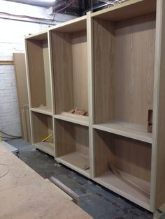 Oak veneered carcasses for larder cupboards.  Timber frames ready for doors to be hung.