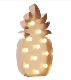 Battery Operated LED Copper Pineapple Light Hawaiian Party Metal Garden Fiesta