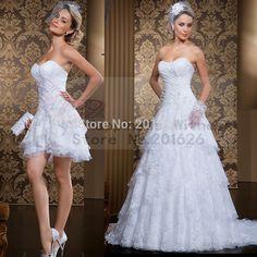 Barato Vestido De Noiva curto e longo duas peças A linha branco / marfim…