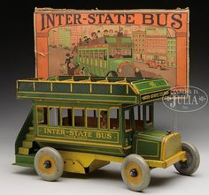 British style double-decker bus.steerable front wheels. 10 1/2""