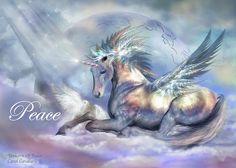 Unicorn Of Peace Card Mixed Media