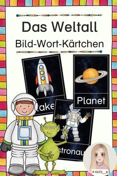 """Diese Bild-Wort-Kärtchen zum Thema """"Weltall"""" enthalten viele grundlegende Begriffe, z.B. allgemeine Begriffe wie """"Weltall"""" oder """"Sonnensystem"""", alle Planeten und auch Figuren, wie """"Astronaut"""" oder """"Alien"""". Sie eignen sich sowohl für den Deutschunterricht zur Wortschatzarbeit, für den Sachunterricht zur Unterstützung bei der Arbeit zu diesem Thema oder auch für DaZ-Lernende, um die Begriffe mithilfe der Bilder besser zu verstehen. Zum Herunterladen von Lehrermarktplatz Comics, Solar System, Planets, Teaching Materials, Teachers, Cartoons, Comic, Comics And Cartoons, Comic Books"""