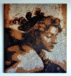 "www.mosaicsart.co.uk · Business Office Art Commission · Mosaic Wall Panel Inspired by Michelangelo · ""The Ignudo"" · Mosaics Art Gallery London · Decorative Wall Art ·Personalised Wall Art   #artcommission #wallart #mosaicwall #mosaicartlondon"