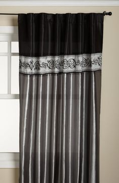 Amazon.com - Duck River Textile Springfield Two-Tone Embroidered 54-Inch by 90-Inch Back-Tab Panel with Valance, Black Silver - Window Treat...