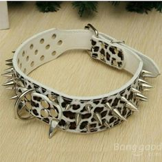 """WHITE LEOPARD LEATHER SPIKED DOG COLLAR Brand New and High Quality. 2 inch Wide, 5 holes adjustable. Soft PU Leather that allows light and comfort fit. Good resistant to rust, maintain permanent brightness. Collars covered with three rows of rounded-tip decorative spikes edged by rows of smooth button studs. This pet collar is a great fun fashion accessory for your pet.  (S) 5x56cm/ 2x22"""", Suitable neck girth: 43-51cm/ 17-20"""" Other"""