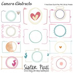 Cameras Clip Art, Doodled, Abstract Cameras in Fun Pinks and Brights on Etsy, $3.99