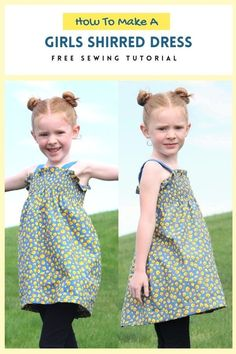 How To Make A Girls Shirred Dress - FREE sewing tutorial. This makes a fantastic summertime dress that can also be used in the Spring and Autumn. The designer made her daughter this adorable Shirred Dress along with a tutorial for some leggings, which again she provided to all of us for FREE, which you can download. You can make this super-comfy shirred dress and if you don't know how to shirr, then the designer shows you with a short video. Sewing Patterns For Kids, Dress Sewing Patterns, Sewing For Kids, Free Sewing, Sewing Tips, Sewing Tutorials, Shirred Fabric, Shirred Dress, Free Girl