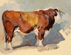 The Jackson Hole Art Auction is recognized as one of the premier art and auction events in the country, specializing in renowned past masters and contemporary western, wildlife, sporting, figurative and landscape art. Hereford Cattle, Bull Painting, Farm Art, Cow Art, Wildlife Art, Western Art, Art Auction, Animal Paintings, Painting Techniques