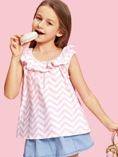 To find out about the Girls Ruffle Neck Chevron Print Blouse at SHEIN, part of our latest Girls Blouses ready to shop online today! High Leg Bikini, Bikini Set, Bikini Ready, Girls Blouse, Cute Girl Outfits, Purple Fashion, Beachwear For Women, Printed Blouse, Kids Wear