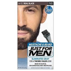 Just For Men Mustache and Beard Hair Color - Brings Out the Best in Your Facial Hair (real black) *** Visit the image link more details. (This is an affiliate link and I receive a commission for the sales)