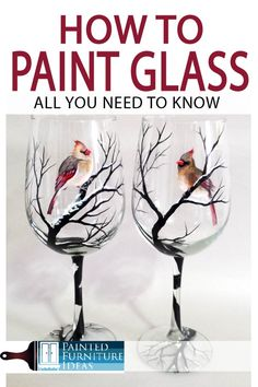 3 Ways to Hand-Paint Glass - Painted Furniture Ideas Painting On Glass Windows, Glass Painting Designs, Painted Glass Windows, Diy Wine Glasses, Hand Painted Wine Glasses, Painting On Wine Glasses, Decorated Wine Glasses, Glass Bottle Crafts, Wine Bottle Art
