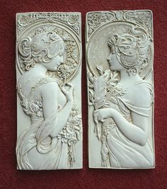Larger Alphonse Mucha style art nouveau style/ art deco style/ wall plaques in cream, silver or bronze