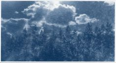 Clouds, cyanotype on watercolour paper, digital negative of an original pinhole image