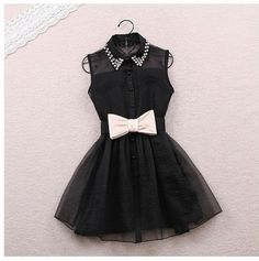 Pearl Rhinestone small lapel gauze dress small cute black dress wiv a bow to add… Gauze Dress, Mesh Dress, Belted Dress, Organza Dress, Chiffon Dress, Beaded Chiffon, Tulle, Bodycon Dress, Dress With Bow