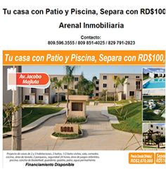 Tu casa con Patio y Piscina, Separa con RD$100,000 - Publicidad
