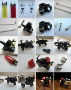 You can make this motorcycle using two disposable lighter!!.