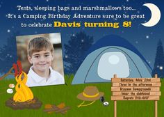Camping birthday invitation digital file