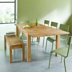 Table rectangulaire 2 allonges chêne massif, 6 à 10 couverts ADELITA,   419 euros  attention les allonges ne se rangent pas sous la table