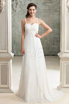 Dresswe.comサプライ品エレガントな帝国チャペルサンドラのウェディングドレス スパゲッティストラップ アップリケ  ビーチウェディングドレス