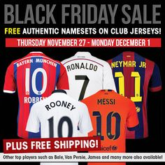Black Friday special! Free player namesets for your favorite stars at SoccerPro + Free Shipping!