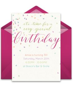 Tons of free girl birthday invitation templates. We love this free Colorful Confetti invite, perfect for inviting friends to a vibrant pink birthday party!