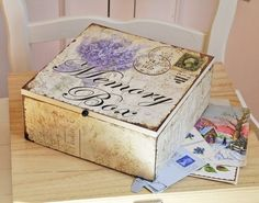 Last sunday we decided was going to be the day for starting to clear out granny's attic.and as the rain had set in for the day it seem. Decoupage Letters, Decoupage Box, Letter To My Love, I Love You Lettering, Cigar Box Crafts, Crafts To Make, Diy Crafts, Altered Cigar Boxes, Vintage Hat Boxes