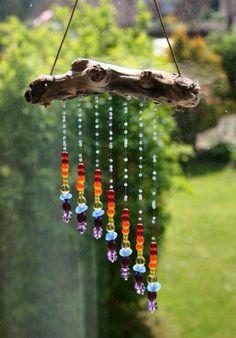 Tinker sun catcher - made of driftwood and glass rainbow beads - DIY garden . - Tinker sun catcher – made of driftwood and glass rainbow beads – DIY garden idea *** DIY Driftw - Nature Crafts, Fun Crafts, Diy And Crafts, Arts And Crafts, Decor Crafts, Carillons Diy, Easy Diy, Deco Nature, Diy Wind Chimes