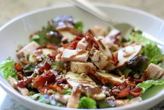 apple bacon pecan salad with garlic balsamic dressing - lauren's latest