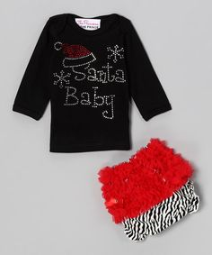 Take a look at this Black 'Santa Baby ' Tee & Diaper Cover - Infant by The Princess and the Prince on #zulily today!