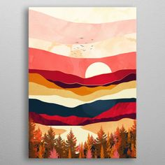 Scarlet Spring Art Poster by Spacefrogdesigns - X Abstract Art Painting, Small Canvas Art, Art Painting, Mountain Painting Acrylic, Nature Art Painting, Painting, Painting Art Projects, Nature Paintings, Graphic Art