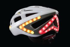 Brake lights and turn signals on this bike helmet help you communicate with cars and be seen at night.