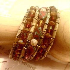 """Genuine stone wrap bracelet Handmade beautiful earth tone 7 wrap bracelet featuring picture Jasper and Czech glass on memory wire. Fits 6 1/2"""" to 7 1/2"""" wrists. I loved this one so much, that kept one for myself. Jewelry Bracelets"""