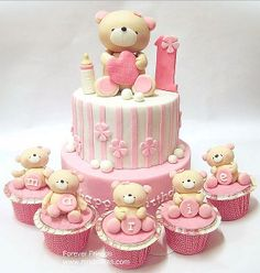 Adorable pink and white teddy bear cakes and cupcakes Baby Cakes, Baby Birthday Cakes, Girl Cakes, Cupcake Cakes, Bear Birthday, Bear Cupcakes, Birthday Kids, Pink Birthday, 50th Birthday
