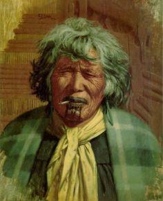 Charles Frederick Goldie- No Koora te Cigaretti, 1912 Native American Legends, Native American Artwork, Maori Words, Maori People, New Zealand Art, Amazing Paintings, Bone Carving, Old Master, Oil On Canvas