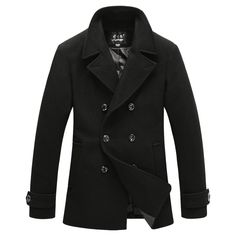 Top Fashion Men s Wool Coat Outwear Autumn Winter Slim Fit Double Breasted  Long Section Pea Coat Trench Jacket Coat Homme M-XXXL    AliExpress  Affiliate s ... 5362139c3bf