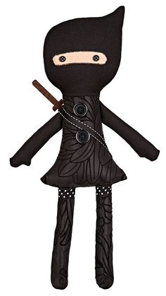 Ninja / doll / Black / handmade stuffed toy / Girl / Cloth