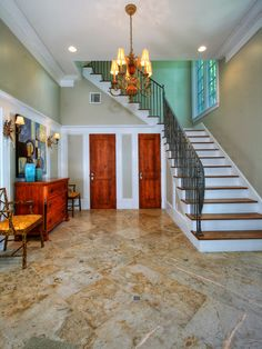Interior, Accent Walls Taupe Paint White Moldings And Floor Tile With Granite Wood Steps Elegant Floor Tile Staircase Designs Makes Outstanding Home Interior: Floor Tile Staircase Ideas to Complete Your Mediterranean Style House