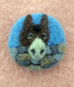 Needle Felted Donkey Brooch 'Hee-Haw' A Unique Handmade Gift by Ann Creasey