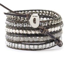 Labradorite and Crystal Wrap Bracelet on Natural Grey Leather - Chan Luu