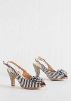 You Win, You Cruise Heel - Mid, White, Stripes, Flower, Prom, Wedding, Party, Work, Vintage Inspired, 50s, Good, Slingback, Black, Nautical