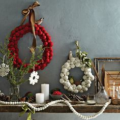 felt ball wreaths + garland