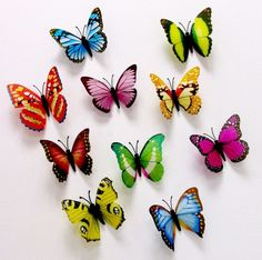Muursticker kleurrijke 3d vlinders | - 3d vlinders en bloemen | stickerkamer