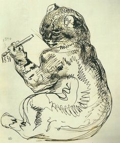 by Eugène Delacroix, 1831 - the artist portrayed as a cat