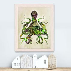 Octopus Poster Green and Purple Fishy Octopus Illustration, Nautical Print Illustration Digital Print Nautical Wall Art Wall Decor Octopus Wall Art, Octopus Print, Nautical Wall Art, Nautical Pillows, Octopus Illustration, Fine Art Prints, Canvas Prints, Green And Purple, Fine Art Paper