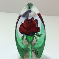 Miniature Red Rose Crystal Figurine - Floral Fantasy by Mats Jonasson No 88150