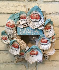 SANTA~Rustic prim aqua turquoise blue oyster clam by mypaintinplace Seashell Wreath, Seashell Ornaments, Seashell Art, Seashell Crafts, Beach Crafts, Crafts To Do, Diy Crafts, Christmas Ornaments To Make, Santa Ornaments