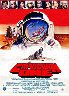 Capricorn One [1977] Action, Thriller - Elliott Gould, James Brolin, Brenda Vaccaro, Sam Waterston, O.J. Simpson, Hal Holbrook, Karen Black, Telly Savalas - A NASA Mars mission won't work, and its funding is endangered, so they decide to fake it just this once. But then they have to keep the secret...