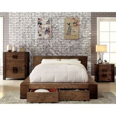 A modern set that offers both visual appeal and storage capability in any bedroom, this low profile three-piece set is a must-have. Wood construction and a natural toned finish add to the rustic visua