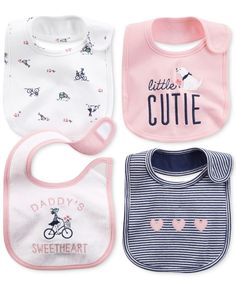 Carter's Baby Girls' 4-Pack Embellished Bibs