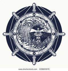 Sea compass and storm tattoo celtic style. Great outdoors. Tsunami waves tattoo. Big wave and rose compass t-shirt design. Symbol of adventures boho style